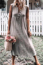 Button Front Casual Cotton Maxi Dress