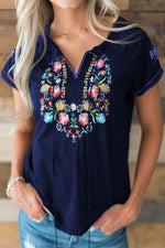 Floral Embroidery Drawstring V-neck T-shirt