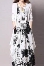 Vintage Tie-dyed Set Linen Coat With Maxi Dress