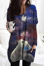 Lifelike Cat Butterfly Starry Sky Print V-neck Vintage Mini Dress