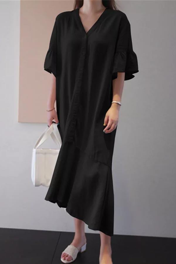 V Neck Paneled Buttoned Shift Loose Midi Dress