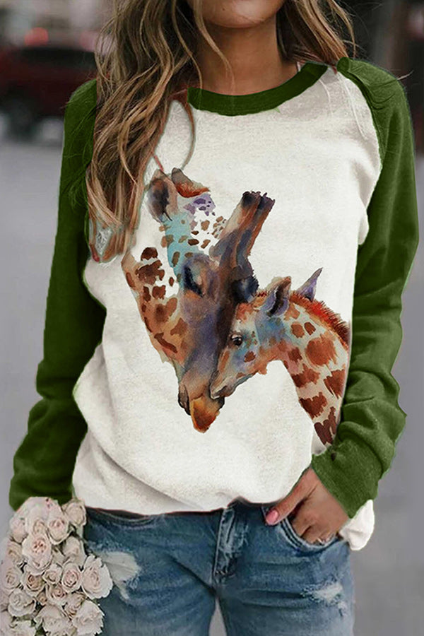 Love Mother And Baby Giraffe Gradient Print Raglan Sleeves Color-block Lively T-shirt