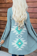 Women Ethnic Blue AZTEC Jacquard Knitted Open Front Cardigan