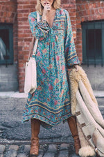 Bohemian Floral Print Long Sleeves Midi Dress
