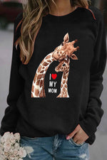 I Love My Mom Letter Heart Shaped With Kind Deer Print Raglan Sleeves Lively T-shirt