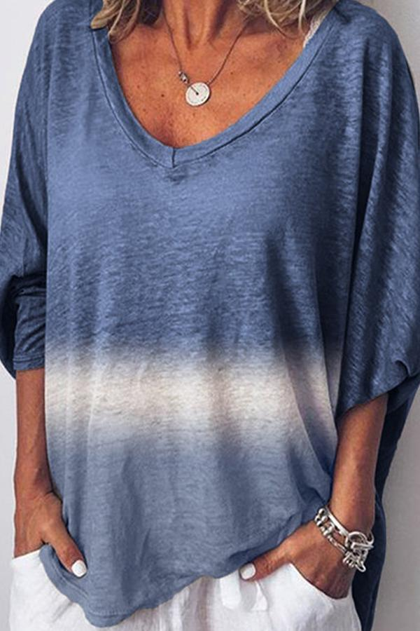 V Neck Bat Sleeves Ombre Loose T-shirt