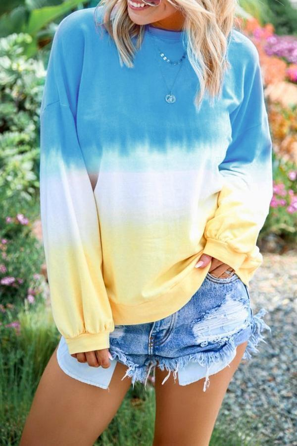 Tie-Dye Color Block Crew Neck Long Sleeve Sweatshirt