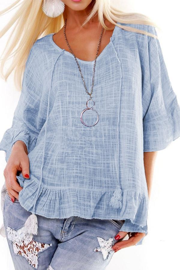 Linen Plaid Half Sleeves Flounced T-shirts