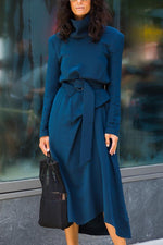 Elegant Solid Turtleneck Irregular Midi Dress