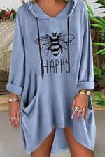 Bee Print Cat Ear Hooded Casual Pockets Drawstring T-shirt