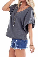 Casual Solid  V Neck  Pullover T Shirt