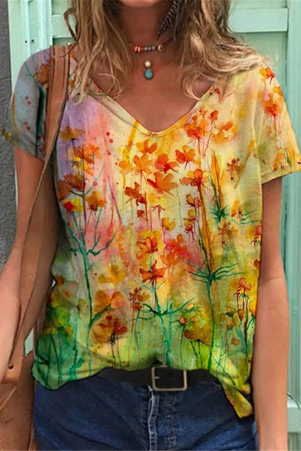 Literary Colorful Floral Gradient Print Shift T-shirt