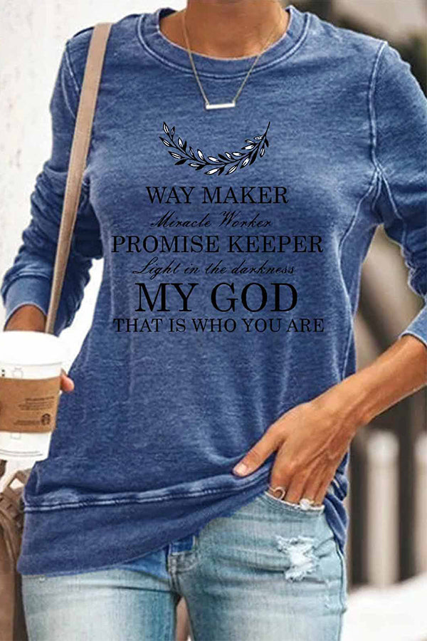 Feather Way Maker Letter Print Paneled Sheath Crew Neck T-shirt