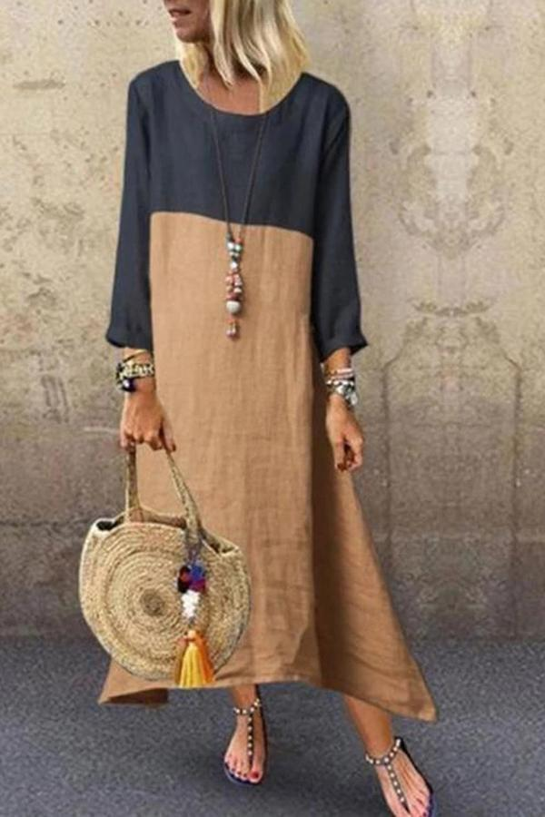 Vintage Color-block Maxi Dress