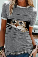 Sweety Striped Lovely Cat In The Hole Print Women T-shirt
