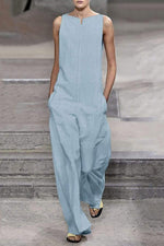 Sleeveless Solid Side Pockets Jumpsuit