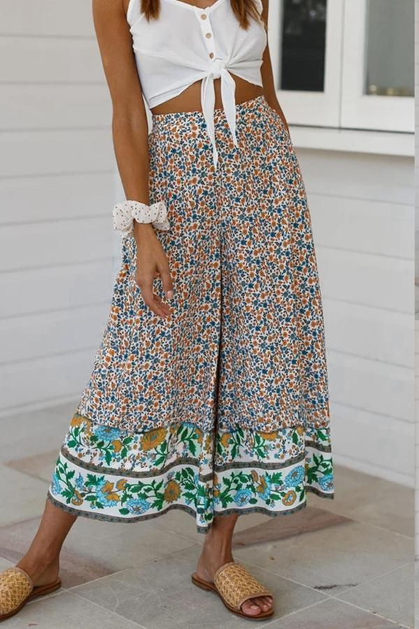 Elastic Floral Print Paneled Holiday Wide Leg Pant