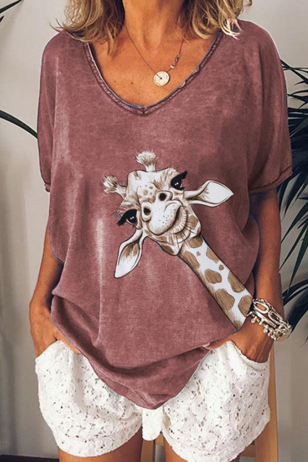 V-neck Cartoon Giraffe Print Paneled Casual T-shirt