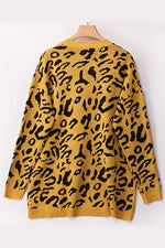 Leopard Print Long Sleeves Crew Neck Sweaters