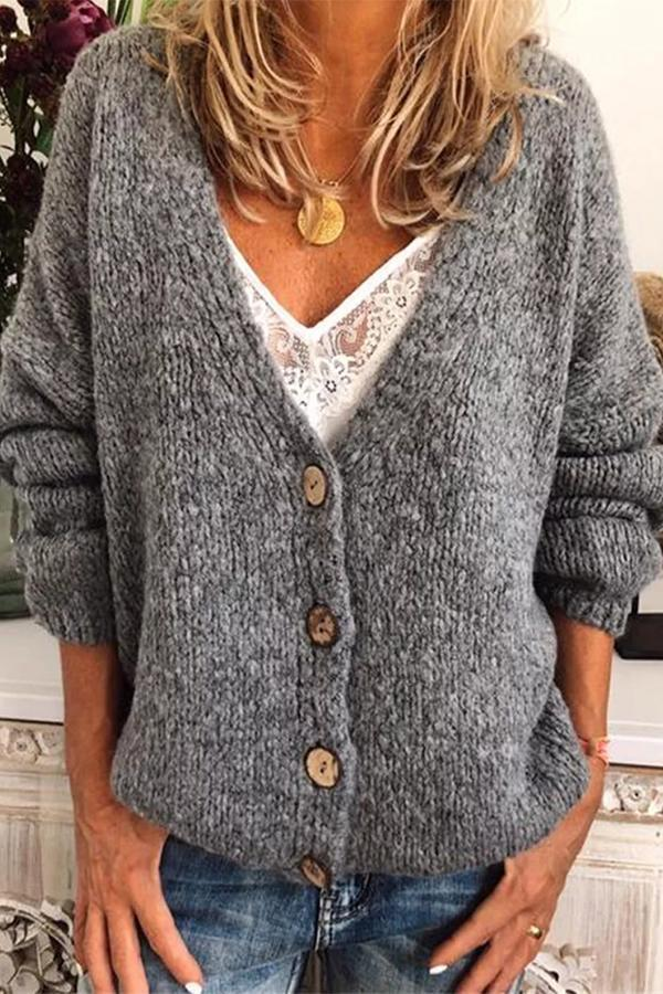Solid Buttons Down V-neck Casual Cardigans