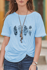 Casual Round Neck Print T Shirt