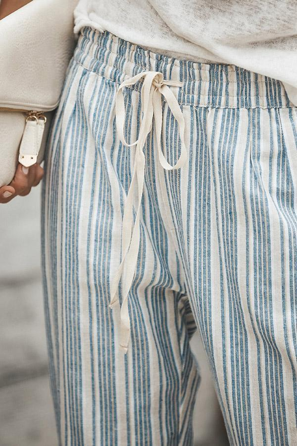 Casual Striped Self-tie Side Pocket Pants