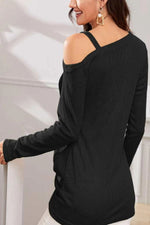 Solid Casual Oblique Shoulder T Shirt