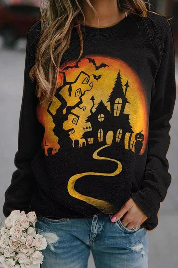 Ancient Castle Tree Bat Moon Pumpkin Print Halloween Sweatshirt