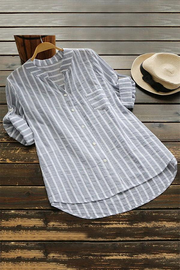 V Neck Half Sleeves Striped Blouses