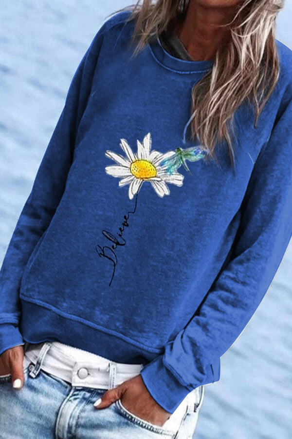 Daily Daisy Dragonfly Print Paneled Crew Neck Sweatshirt