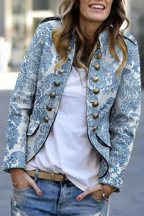 Vintage Long Sleeves Floral Coat