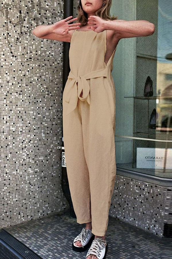 Paneled Solid Self-tie Sleeveless Casual Jumpsuit