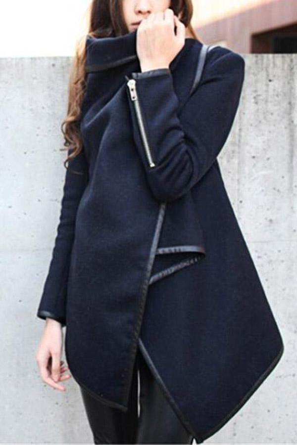 Irregular Turtleneck Long Sleeves Solid Coat