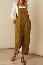 Solid Sleeveless Paneled Side Pockets Casual Overall Jumpsuit