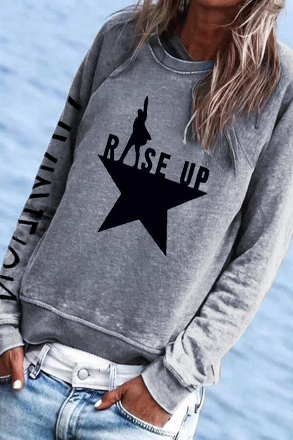 Casual Rise Up Hamilton Star Print Paneled Crew Neck Sweatshirt