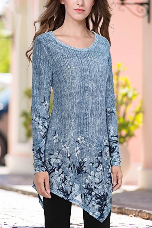 Paneled Floral Print Vintage Irregular Hem Long Sleeves Blouse