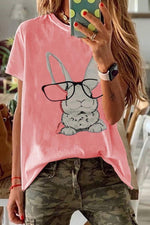 Rabbit Print Short Sleeves Casual T-shirt