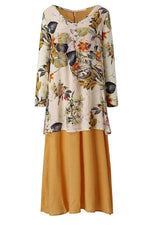 Floral Casual Round Neck Long Sleeves Maxi Dress