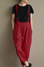 Vintage Solid Linen Adjustable Strap Jumpsuits