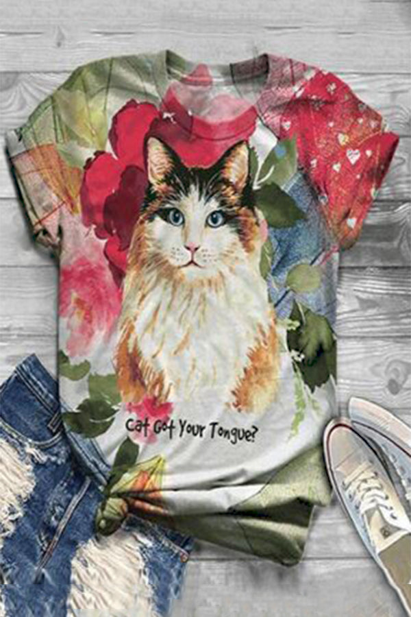 Cartoon Cat Print Floral Paneled Short Sleeves Casual T-shirt