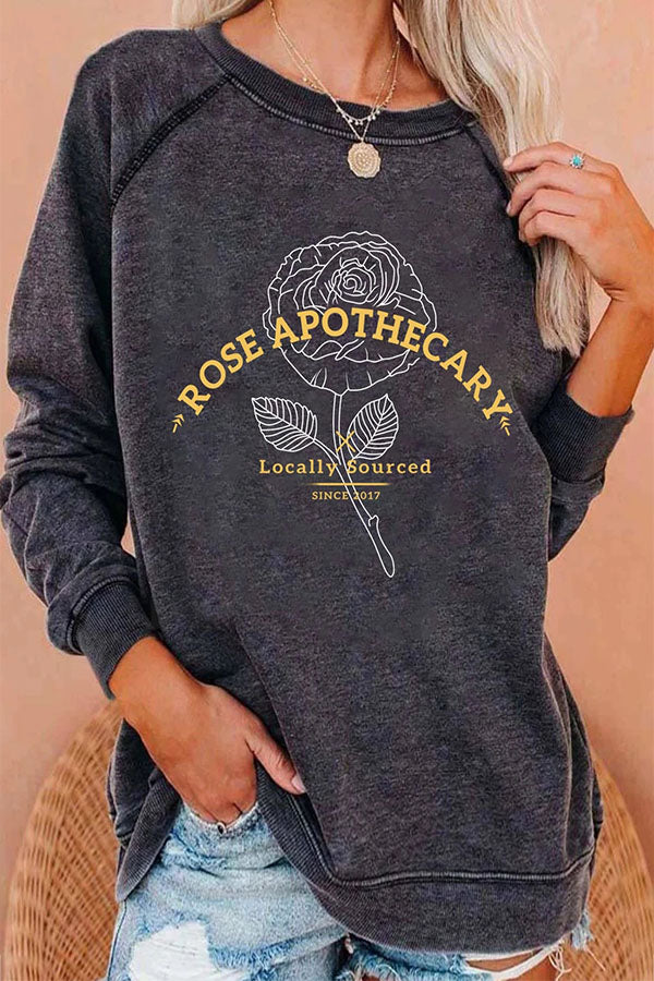Rose Apothecary Locally Sourced Since 2017 Letter Floral Print Raglan Sleeves Classic T-shirt