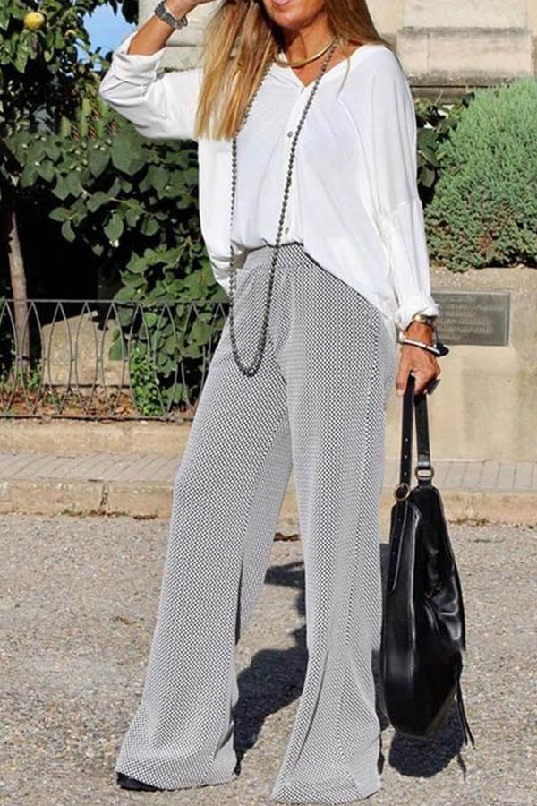 Casual Solid Blouse With Plaid Print Pants Two-pieces Set