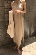 Solid Sleeveless Paneled Pockets Slit Maxi Dress