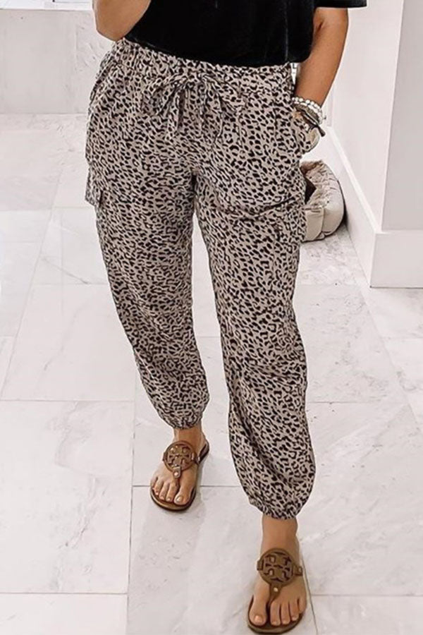 Leopard Print Holiday Self-tie Pockets Foot-binding Pants