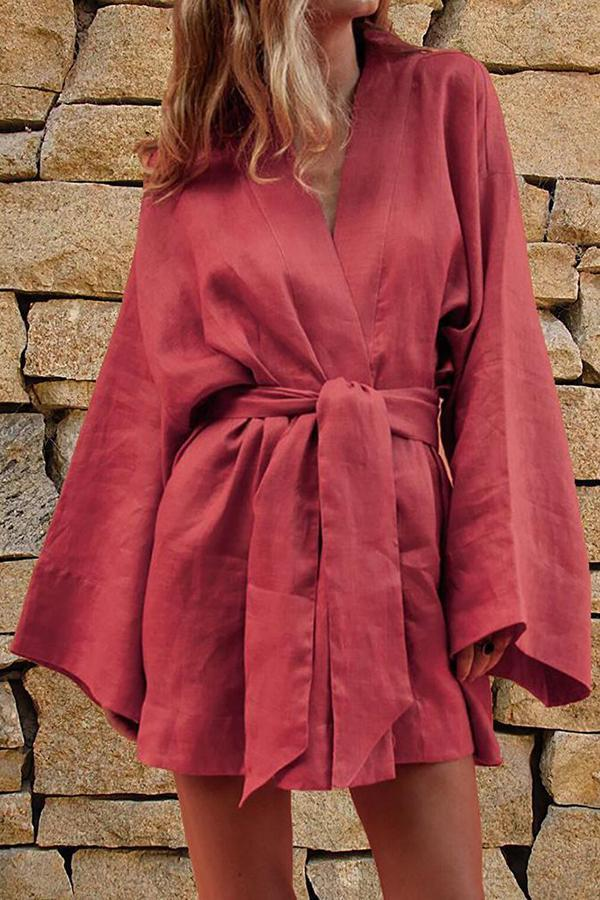 Linen Self-tie Long Sleeves Solid Mini Dress