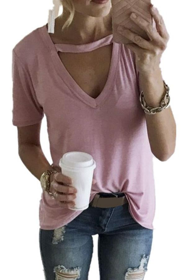 V-neck Short Sleeves Solid T-shirt