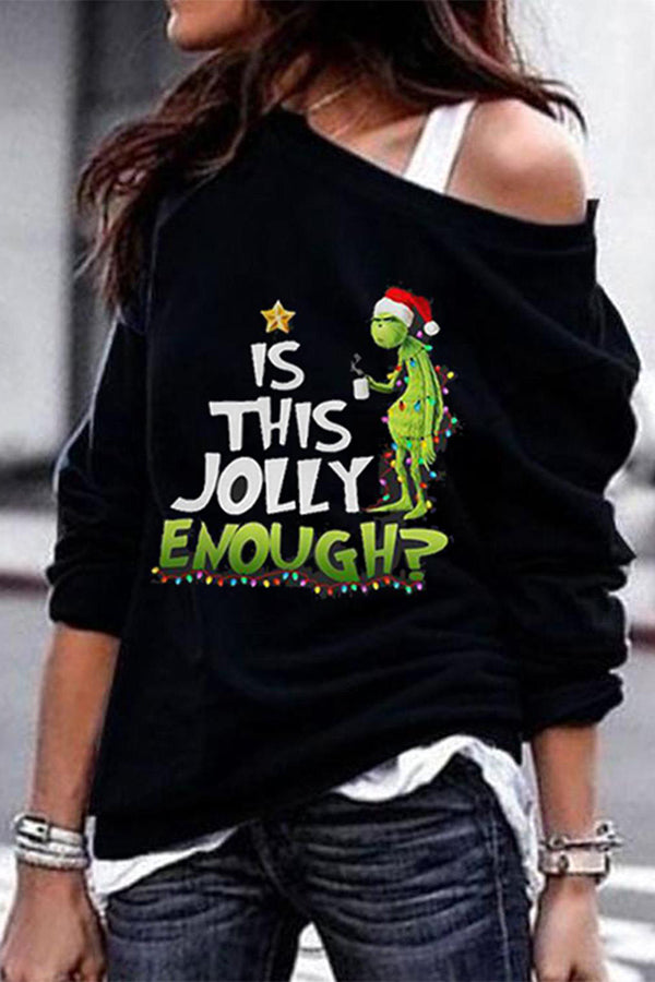 Is This Jully Enough Elves With Christmas Hat Print Casual T-shirt
