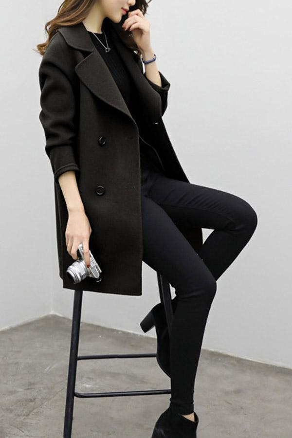 Casual Lapel Long Sleeves Buttoned Coat