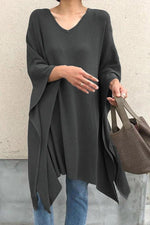 Casual Loose Batwing Solid Blouses