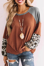 Color-block Waffle Embossed Leopard Print Paneled Knot Front T-shirt